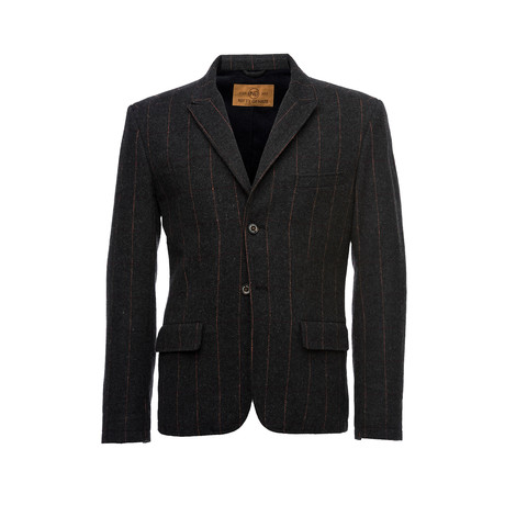 Kurt Notched Stripe Lapel Wool Blazer // Charcoal (XS)