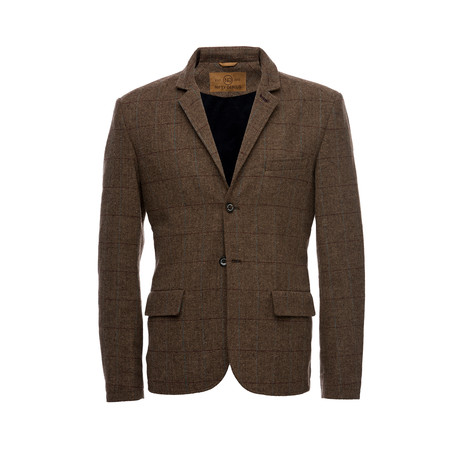 Kurt Notched Lapel Wool Windowpane Blazer // Brown (XS)