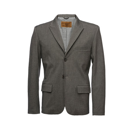 F. Scott Peaked Lapel Stretch Blazer // Dark Gray (XS)
