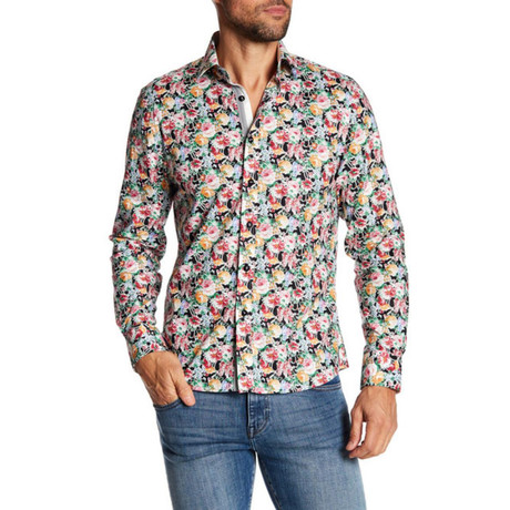 Adam Slim-Fit Printed Dress Shirt // Black (S)