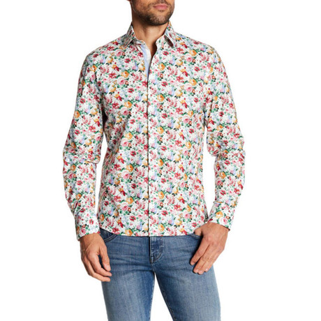 Adam Slim-Fit Printed Dress Shirt // White (S)