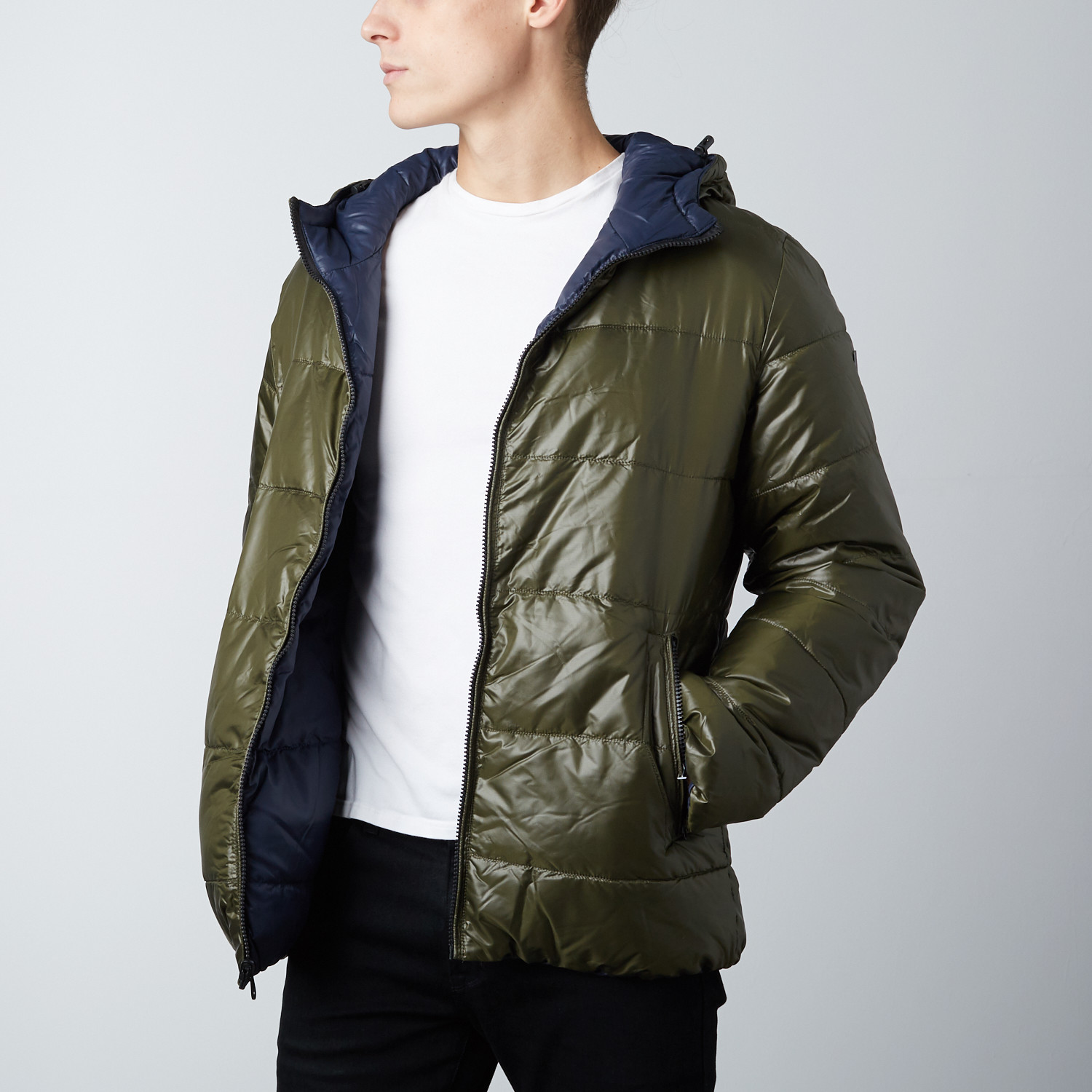 Hooded Reversible Quilted Jacket Olive Yellow S Point Zero