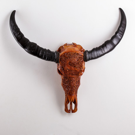 Carved Buffalo Skull // Antique Finish Dragon