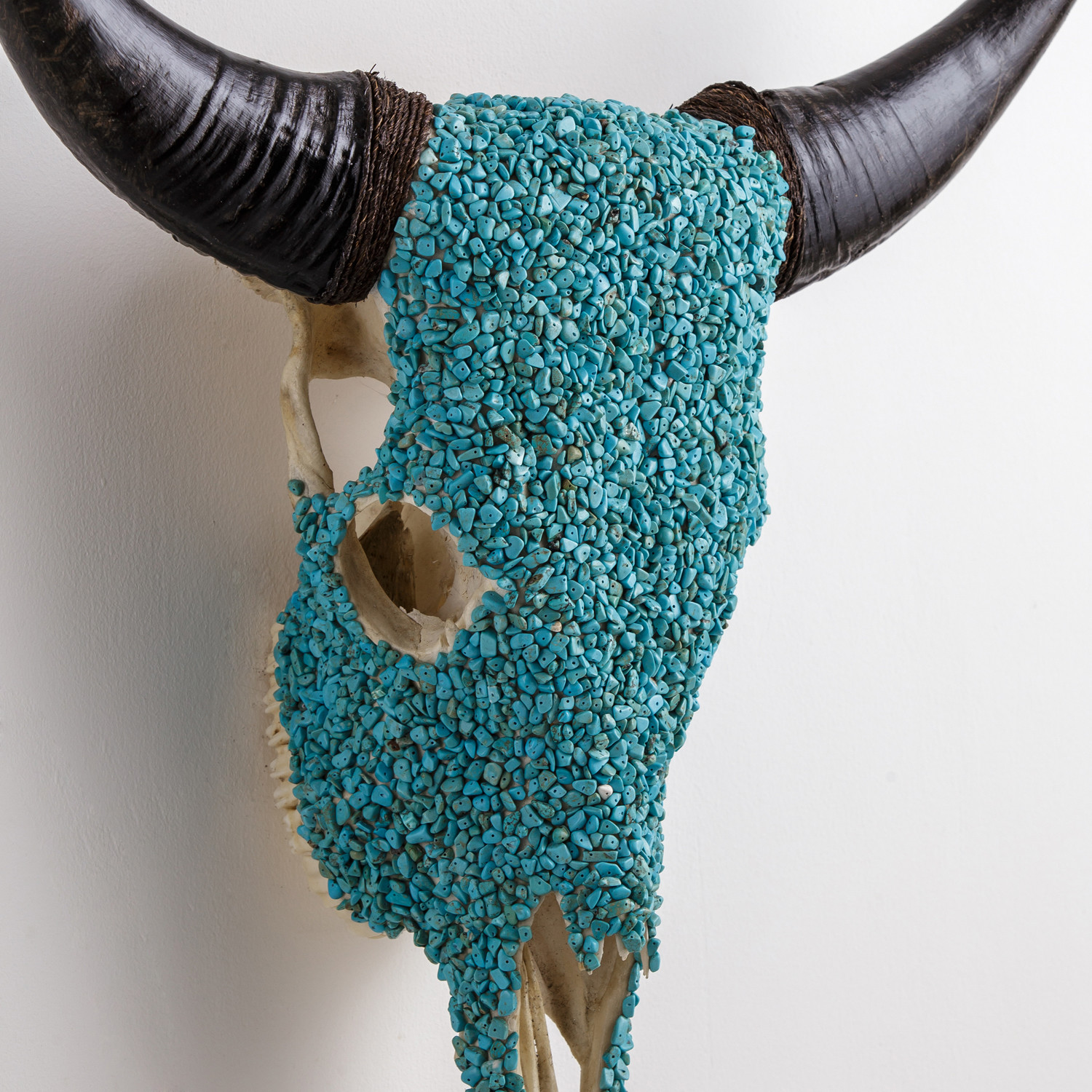 Decorated Cow Skull // XL Horns // Turquoise Meets White - Skull