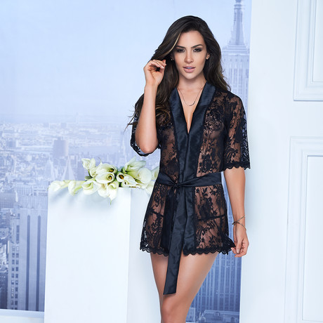 Short Lace Robe // Black (XL)