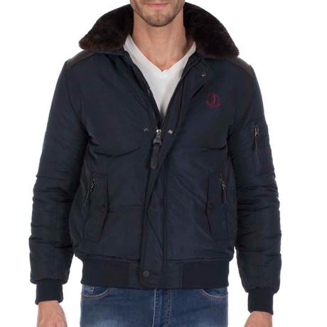 Line Fur Collared Jacket // Navy (L)