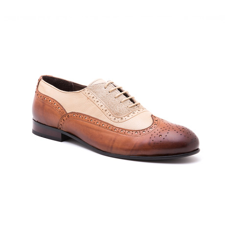 Two-Tone Medallion Brogue // Tobacco + Beige (Euro: 39)