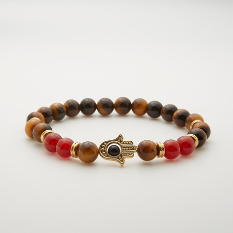 Tiger Eye + Agate Hamsa Bead Bracelet // Brown Multi