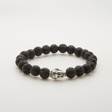 Silver Plated Buddha Lava Stone Bead Bracelet // Black