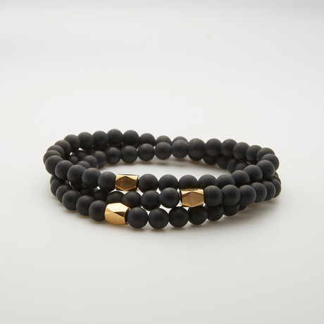 Triple Wrap Matte Agate + Polygon Gold Bracelet // Black