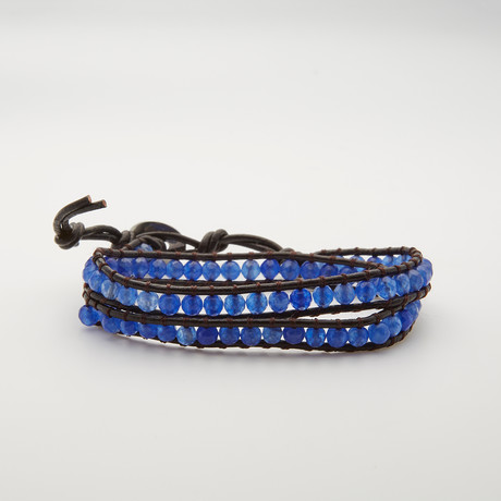 Double Wrap Malay Jade Bracelet // Blue