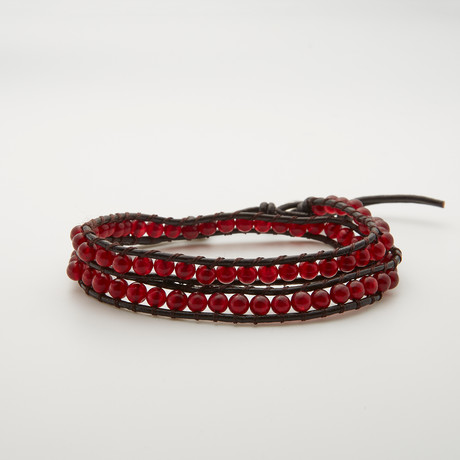 Double Wrap Turquoise Bracelet // Red