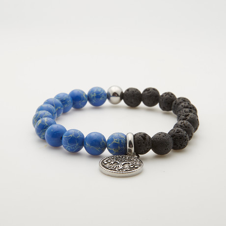 Agate + Sodalite Tree Of Life Bracelet // Black + Blue