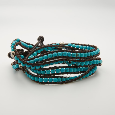 Silver Skull Multi Wrap Turquoise Bracelet // Aqua