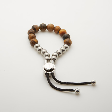 Tiger Eye + Silver Beads Adjustable Bracelet // Brown