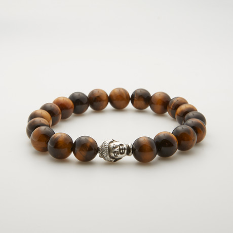 Silver Buddha Tiger Eye Bracelet // Brown