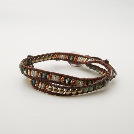 Double Wrap Turquoise + Pyrite + Tila Bead Bracelet // Multicolor