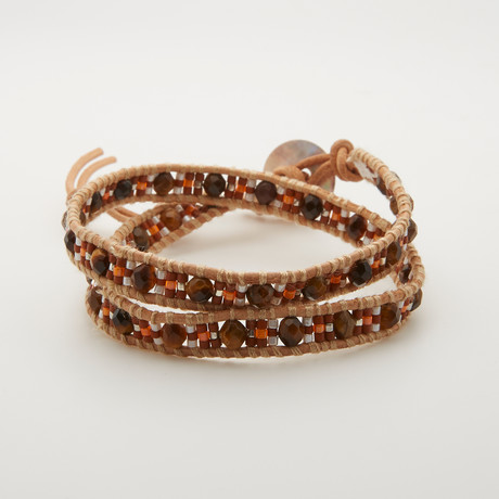 Double Wrap Tiger Eye + Tila Bead Bracelet // Multicolor