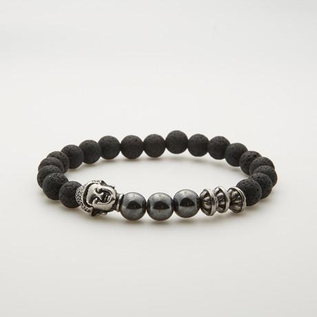 Onyx + Lava Stone Buddha Beaded Bracelet // Black