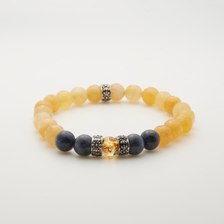 Faceted Jade + Dumortierite Bracelet // Yellow + Blue