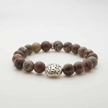 Caledonian Leopard Jasper + Sterling Silver Bracelet // Brown Multi