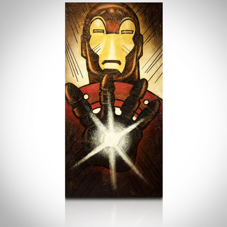 Signed Handpainted Art on Wood // Marvel Iron Man