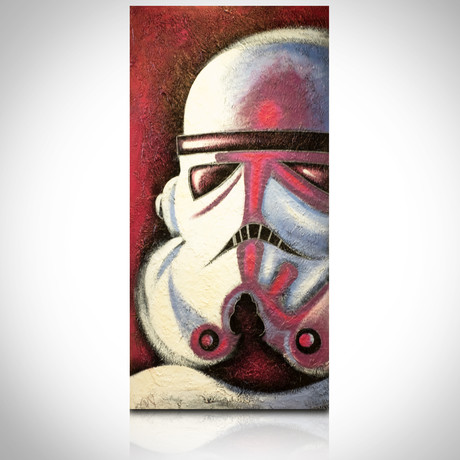 Signed Handpainted Art on Wood // Star Wars Red Stormtrooper