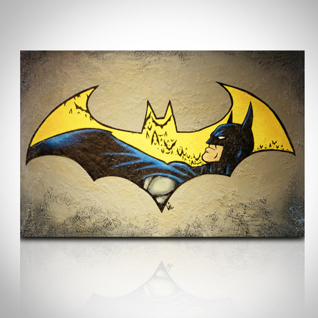 Signed Handpainted Art on Wood // DC Batman Logo