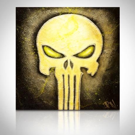 Signed Handpainted Art on Wood // Marvel Punisher Logo
