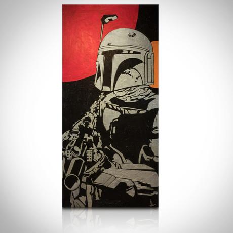 Signed Handpainted Art on Wood // Star Wars Boba Fett