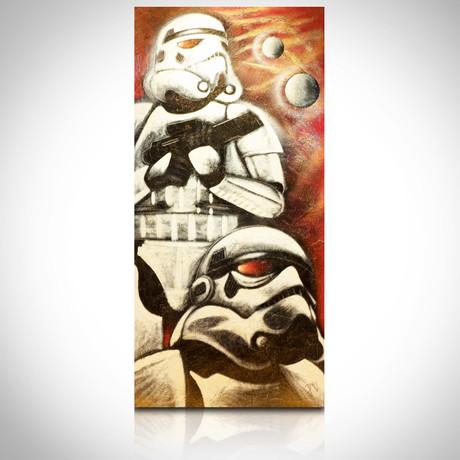 Signed Handpainted Art on Wood // Star Wars StormTrooper