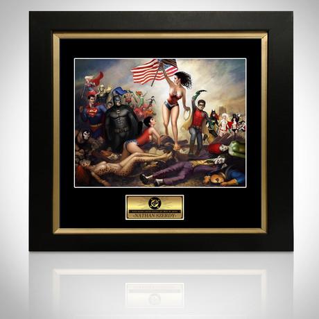 Signed Comic Art // DC Battle // Custom Frame