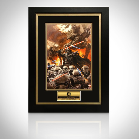 Signed Comic Art // Darth Vader & Stormtroopers // Custom Frame