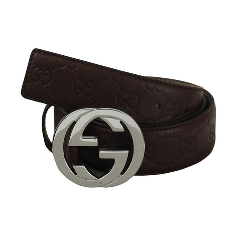 Gucci // Signature Embossed Belt // Brown (85)