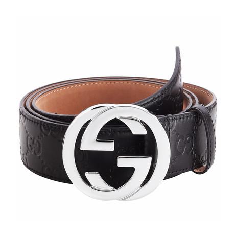 Gucci // Signature Embossed Belt // Black (85)