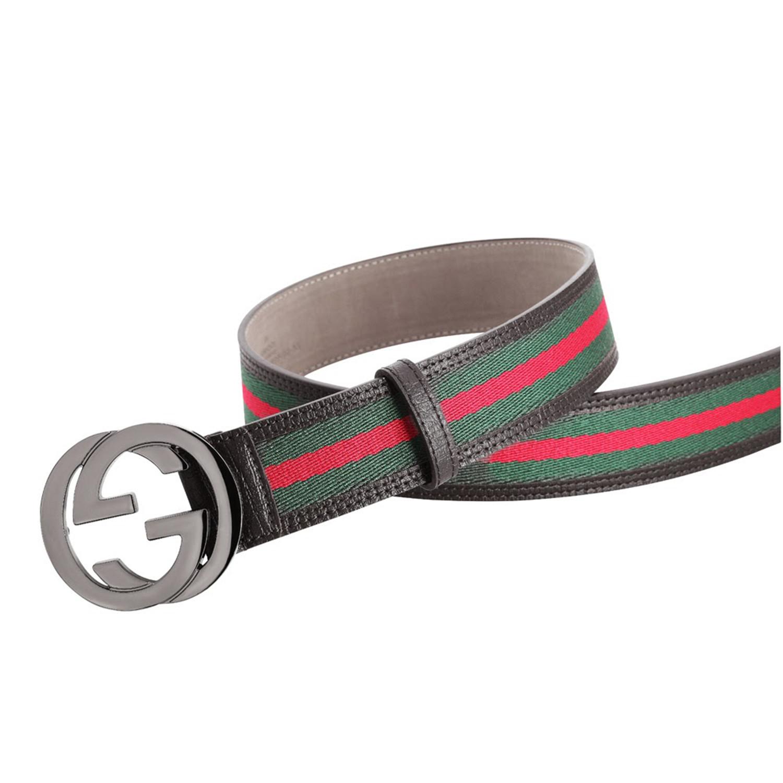 10e05914220 Gucci    Signature Stripe Ribbon Belt    Green + Red + Black (85 ...