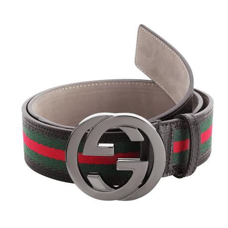 Gucci // Signature Stripe Ribbon Belt // Green + Red + Black (85)