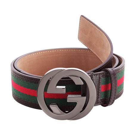 Gucci // Signature Stripe Ribbon Belt // Green + Red + Brown (85)
