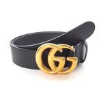 Gucci // Contoured Contoured GG Belt // Black + Gold (85)