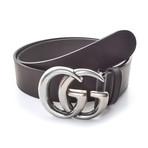 Gucci // Contoured GG Belt // Black + Silver (85)