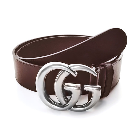 Gucci // Contoured GG Belt // Brown + Silver (85)