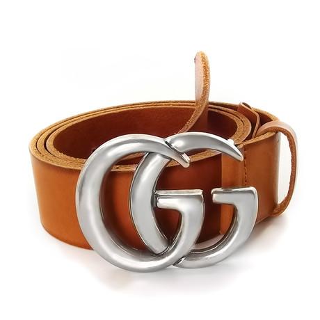 Gucci // Contoured GG Belt // Sienna Brown + Silver (85)
