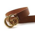 Gucci // Contoured GG Belt // Sienna Brown + Gold (85)