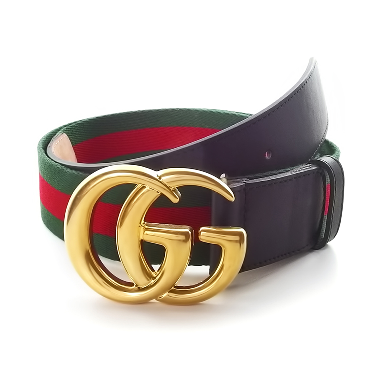 4d873ab8cd9 Gucci    Contoured GG Stripe Ribbon Creased Belt    Green + Red + Gold