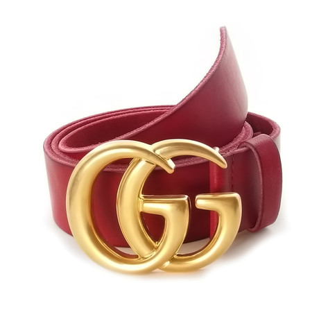 Gucci // Contoured GG Belt // Red + Gold (85)