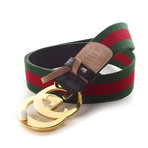 Gucci // Contoured GG Stripe Ribbon Creased Belt // Green + Red + Gold (85)