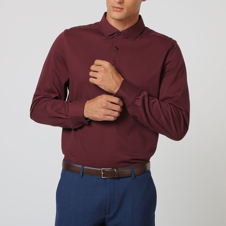 Long-Sleeve Pearl Button Polo // Bordeaux (S)