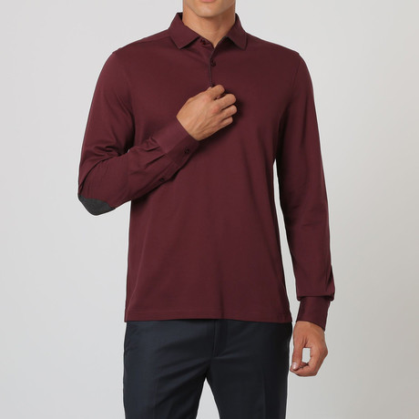 Long-Sleeve Patch Polo // Bordeaux