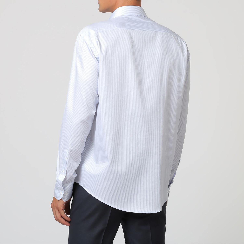 Thin Stripe Button Up Shirt // Pastel Blue + White (38 ...