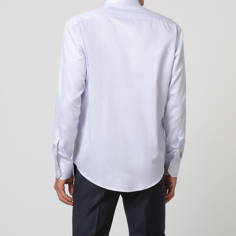 Chad Pinstripe Button Up Shirt Light Blue White 40